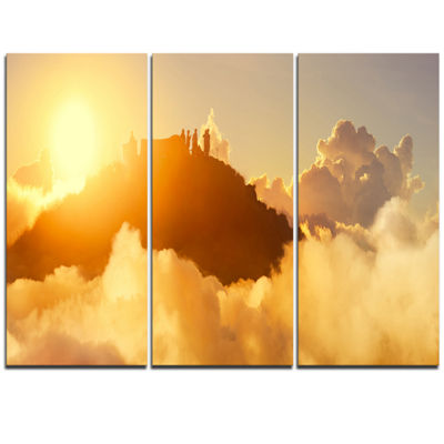 Designart People Enjoying Sunset On Top Of Mountain Landscape Triptych Canvas Art Print