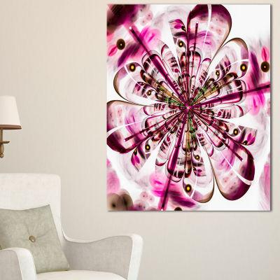 Designart Perfect Digital Flower Art In Dark PinkFloral Canvas Art Print