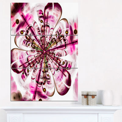 Designart Perfect Digital Flower Art In Dark PinkFloral Triptych Canvas Art Print