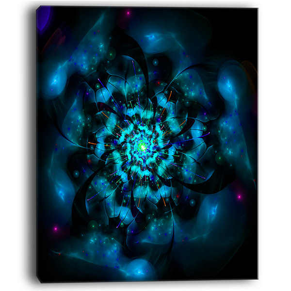 Designart Perfect Fractal Flower In Black And BlueFloral Canvas Art Print
