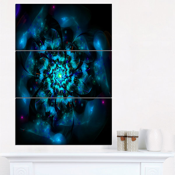Designart Perfect Fractal Flower In Black And BlueFloral Triptych Canvas Art Print