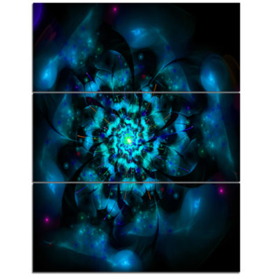 Design Art Perfect Fractal Flower In Black And BlueFloral Triptych Canvas Art Print