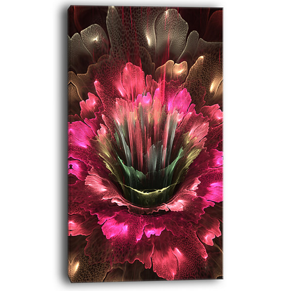 Designart Perfect Fractal Flower In Bright Red Floral Canvas Art Print