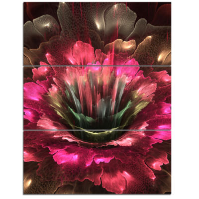 Designart Perfect Fractal Flower In Bright Red Floral Triptych Canvas Art Print