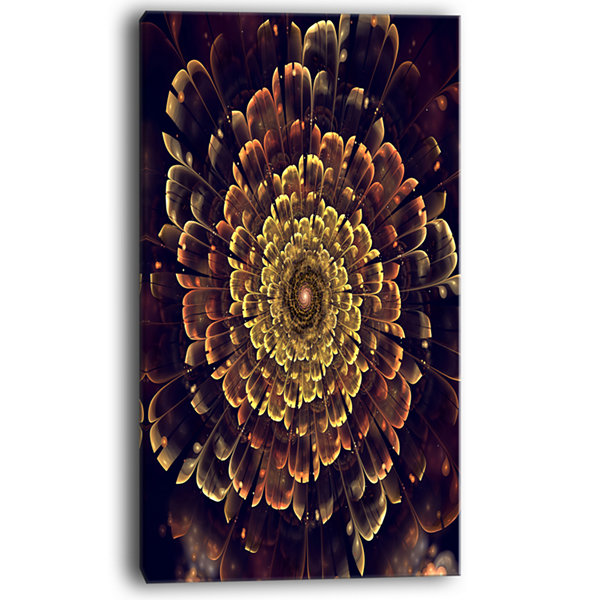 Designart Perfect Fractal Flower In Brown And GoldFloral Art Canvas Print