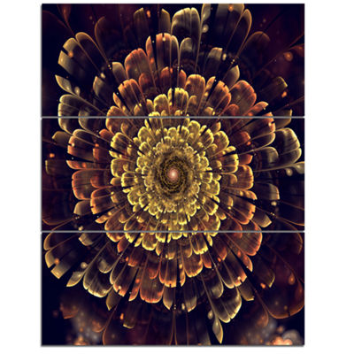 Designart Perfect Fractal Flower In Brown And GoldFloral Art Triptych Canvas Print