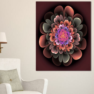 Designart Perfect Fractal Flower In Dark Brown Floral Canvas Art Print