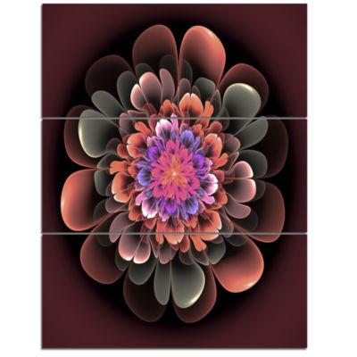 Designart Perfect Fractal Flower In Dark Brown Floral Triptych Canvas Art Print