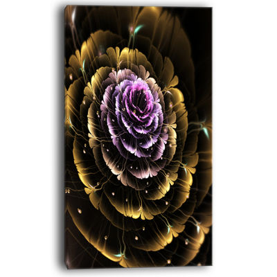 Designart Perfect Fractal Flower In Gold And Purple Floral Canvas Art Print