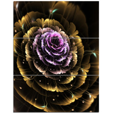 Designart Perfect Fractal Flower In Gold And Purple Floral Triptych Canvas Art Print