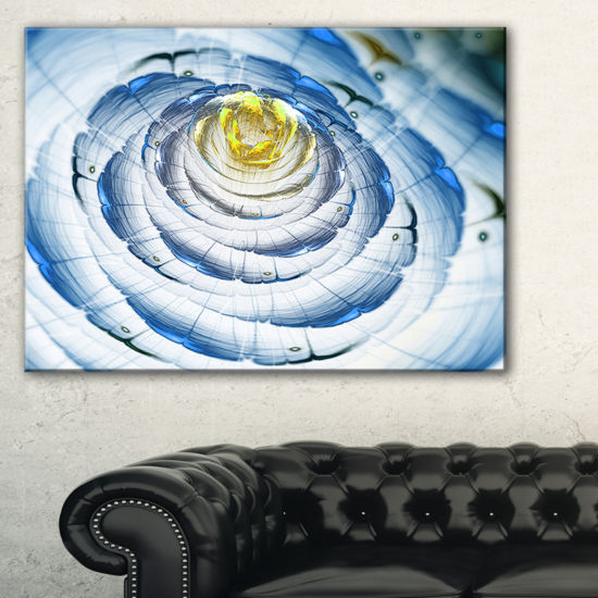 Designart Perfect Fractal Flower In Light Blue Floral Canvas Art Print