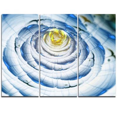 Designart Perfect Fractal Flower In Light Blue Floral Triptych Canvas Art Print