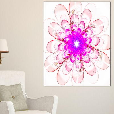 Designart Perfect Fractal Flower In Light Pink Floral Canvas Art Print
