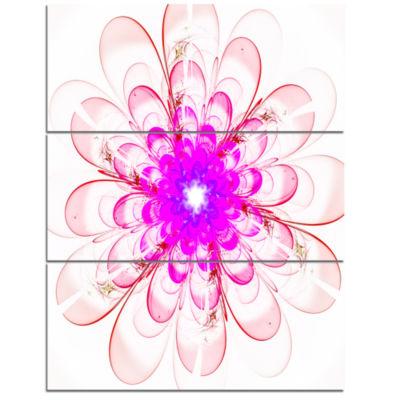 Designart Perfect Fractal Flower In Light Pink Floral Triptych Canvas Art Print