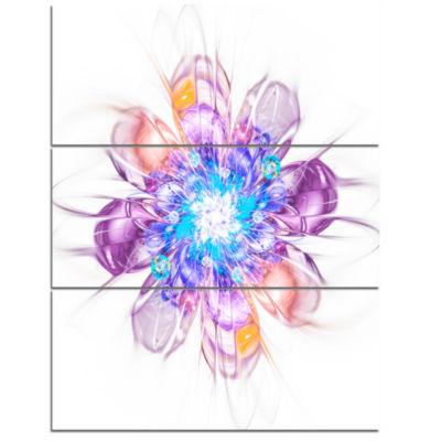 Designart Perfect Fractal Flower In Multi ColorsFloral Triptych Canvas Art Print
