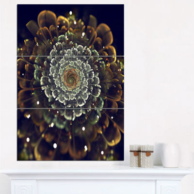 Designart Perfect Fractal Flower In Orange And Silver Floral Art Triptych Canvas Print