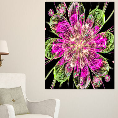 Designart Perfect Fractal Flower In Pink And GreenFloral Canvas Art Print