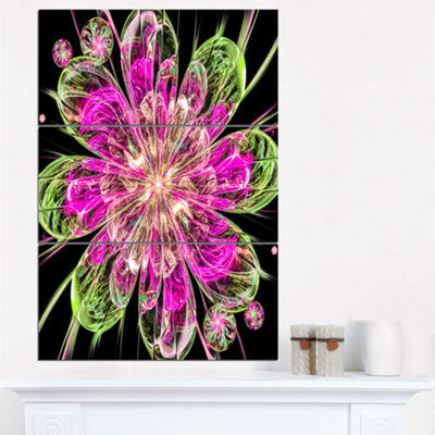 Designart Perfect Fractal Flower In Pink And GreenFloral Triptych Canvas Art Print