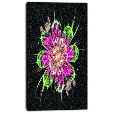 Designart Perfect Fractal Flower In Purple And Green Floral Art Canvas Print