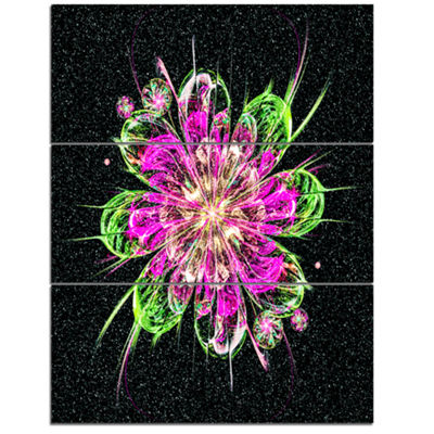 Designart Perfect Fractal Flower In Purple And Green Floral Art Triptych Canvas Print