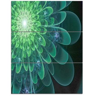 Designart Perfect Fractal Flower In Soft Green Floral Triptych Canvas Art Print