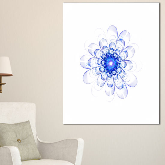 Designart Perfect Glowing Fractal Flower In BlueFloral Canvas Art Print
