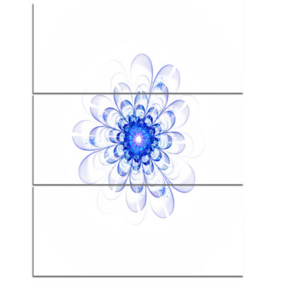 Designart Perfect Glowing Fractal Flower In BlueFloral Triptych Canvas Art Print