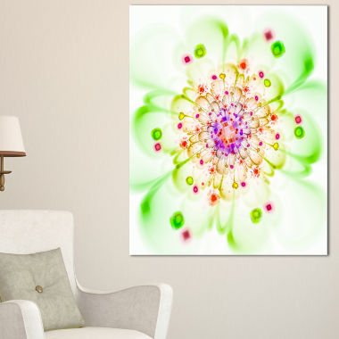 Designart Perfect Glowing Fractal Flower In GreenFloral Canvas Art Print