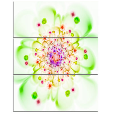 Designart Perfect Glowing Fractal Flower In GreenFloral Triptych Canvas Art Print