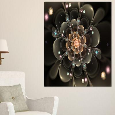 Designart Perfect Shiny Fractal Flower In Dark Brown Floral Canvas Art Print