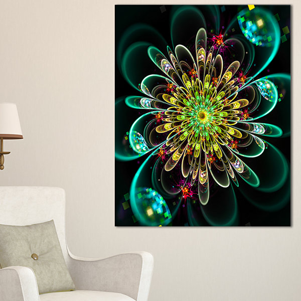 Designart Perfect Shiny Fractal Flower In Green Floral Canvas Art Print