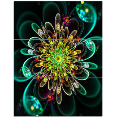 Designart Perfect Shiny Fractal Flower In Green Floral Triptych Canvas Art Print
