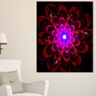 Designart Perfect Shiny Fractal Flower In MagentaFloral Canvas Art Print