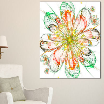 Designart Perfect Shiny Fractal Flower In Red Green Floral Canvas Art Print