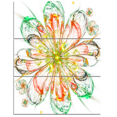 Designart Perfect Shiny Fractal Flower In Red Green Floral Triptych Canvas Art Print