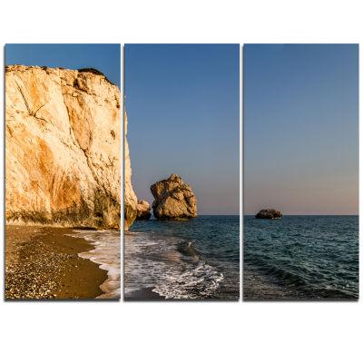 Designart Petra Tou Romiou Or Aphrodite S Rock Seashore Triptych Canvas Art Print