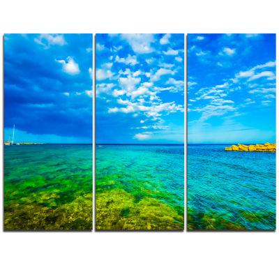 Designart Picturesque Green Blue Seashore Modern Seascape Triptych Canvas Artwork