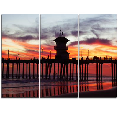 Designart Pier California At Sunset With Clouds Seashore Triptych Canvas Art Print