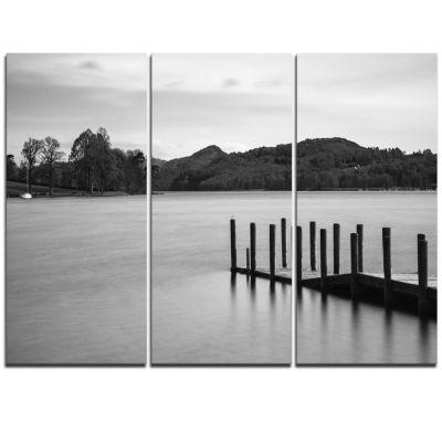 Designart Pier Over Coniston Water Panorama WoodenSea Bridge Triptych Canvas Wall Art