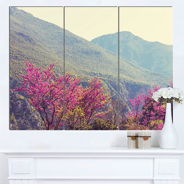 Designart Pink Blossoming Flowers In Mountains Floral Canvas Art Print - 3 Panels