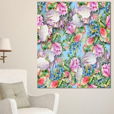 Designart Pink Flower Pattern On Blue Floral Canvas Art Print