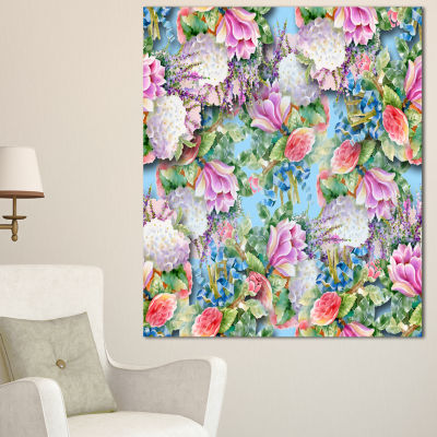 Designart Pink Flower Pattern On Blue Floral Canvas Art Print - 3 Panels
