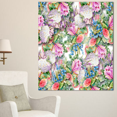 Designart Pink Flower Pattern On White Floral Canvas Art Print