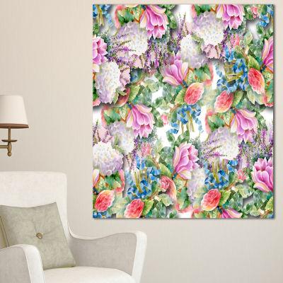 Design Art Pink Flower Pattern On White Floral Canvas Art Print