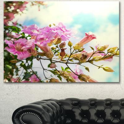 Designart Pink Flowers In Hawaiian Garden Large Flower Canvas Wall Art - 3 Panels