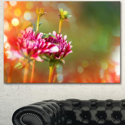 Designart Pink Flowers On Blurred Background LargeFlower Canvas Wall Art - 3 Panels