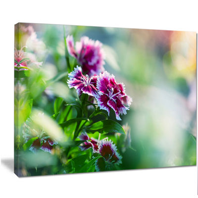 Designart Pink Flowers On Green Background FloralCanvas Art Print
