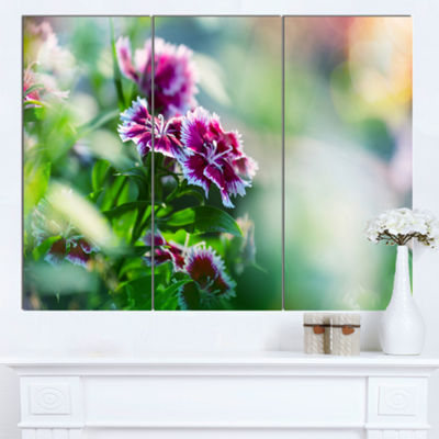 Designart Pink Flowers On Green Background FloralCanvas Art Print - 3 Panels