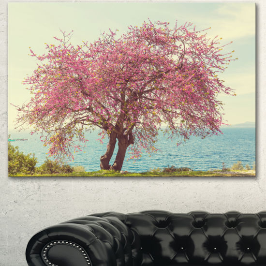 Designart Pink Flowers On Lonely Tree Landscape Canvas Art Print