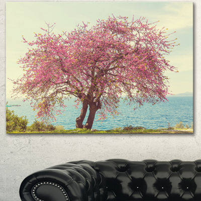 Designart Pink Flowers On Lonely Tree Landscape Canvas Art Print - 3 Panels